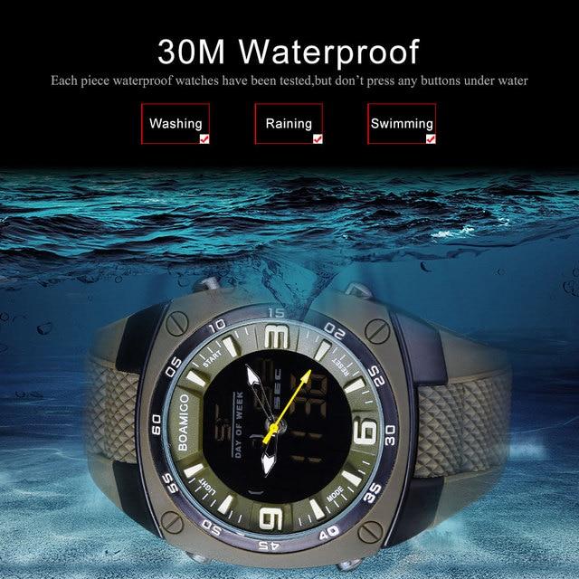 men sports watches military army green outdoor dual display Quartz Digital Watch swim waterproof  rubber band watch  BOAMIGO
