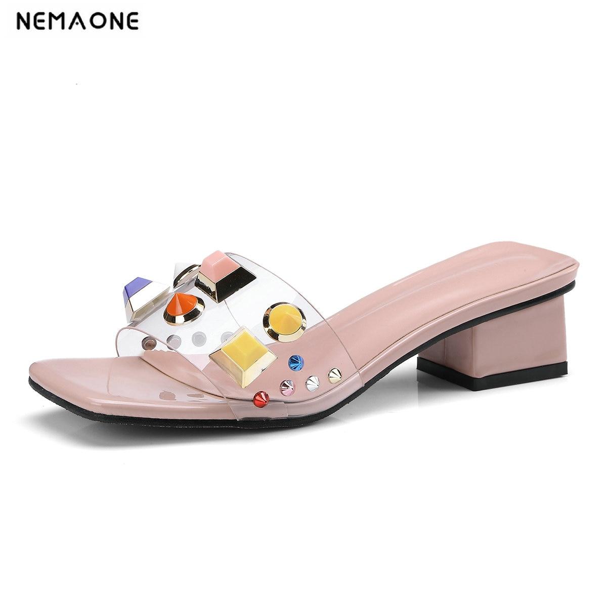 be4e5fac73f5 Stilettos Rose Souliers Sandales Coloré Confort Transparent De Hauts blanc  Femme Robe Pantoufles Femmes Pour Nemaone ...