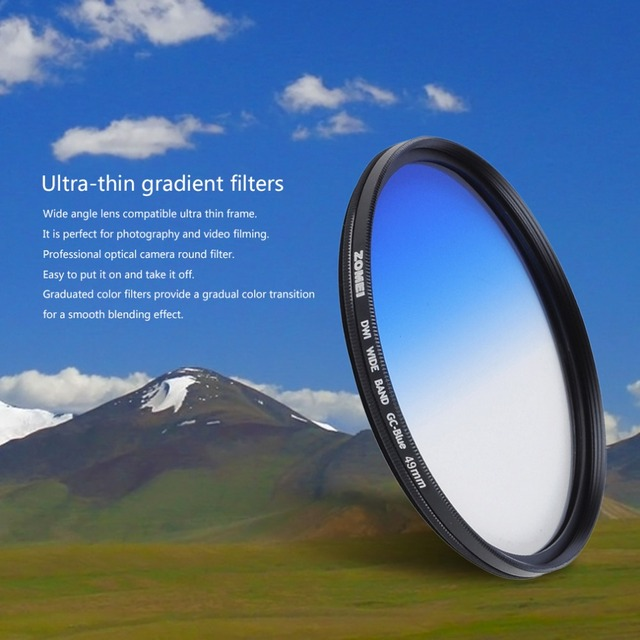 Zomei GND Camera Round Filter Optical Ultra Thin Graduated Neutral Density Blue Red Orange 49mm 52mm 58mm 67mm 72mm 77mm