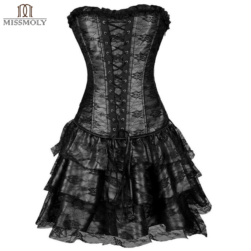 Miss Moly Women's Gothic Lace Trim Corset Skirt Party Costume Shapers Gothic Corsets Bustiers Dress Corselet