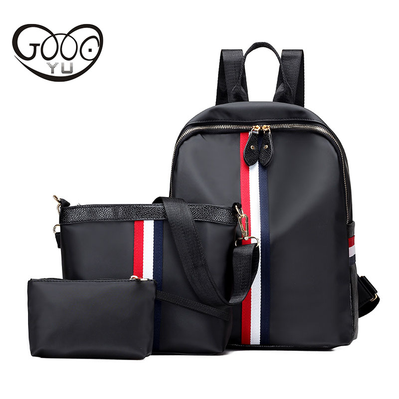 GOOG YU New casual three piece shoulder bags Oxford cloth waterproof ribbons decorated backpacks for
