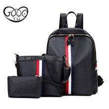 Goog. Ю Новые повседневные из трех частей сумки на плечо ткань Оксфорд водонепроницаемый лентами оформлен рюкзаки для девочек-подростков сумки