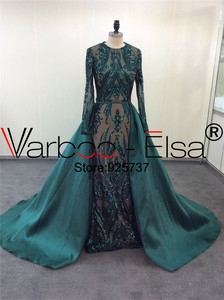 Image 2 - VARBOO_ELSA Robe De Soiree Longue 2019 Detachable Skirt green Evening Dresses Long sleeves Sequin Applique Arabic Evening Gown