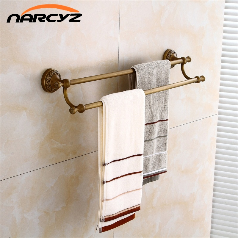 New Style Towel Bars Double Rails Antique Black Brass Wall Shelves Towel Holder Bath Shelf Hanger