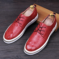 Мужчины роскошные крокодил шаблон из натуральной кожи партия ночной клуб платье оксфорды квартиры платформа зашнуровать ботинок баллок обувь