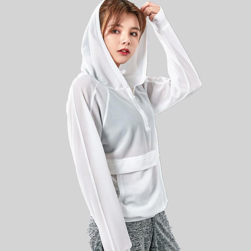 Women Outdoor Mesh Sports Jacket Hooded Long Sleeve Sweatshirt Cotton Yoga Tops Sports Zipper Jacket Fitness Gym Shirts Clothes