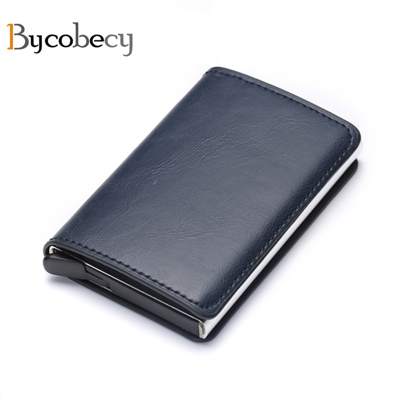 Bycobecy Antitheft Men Vintage Credit Card Holder Blocking Rfid Wallet Leather Unisex Security Wallet Leather Women Magic Wallet