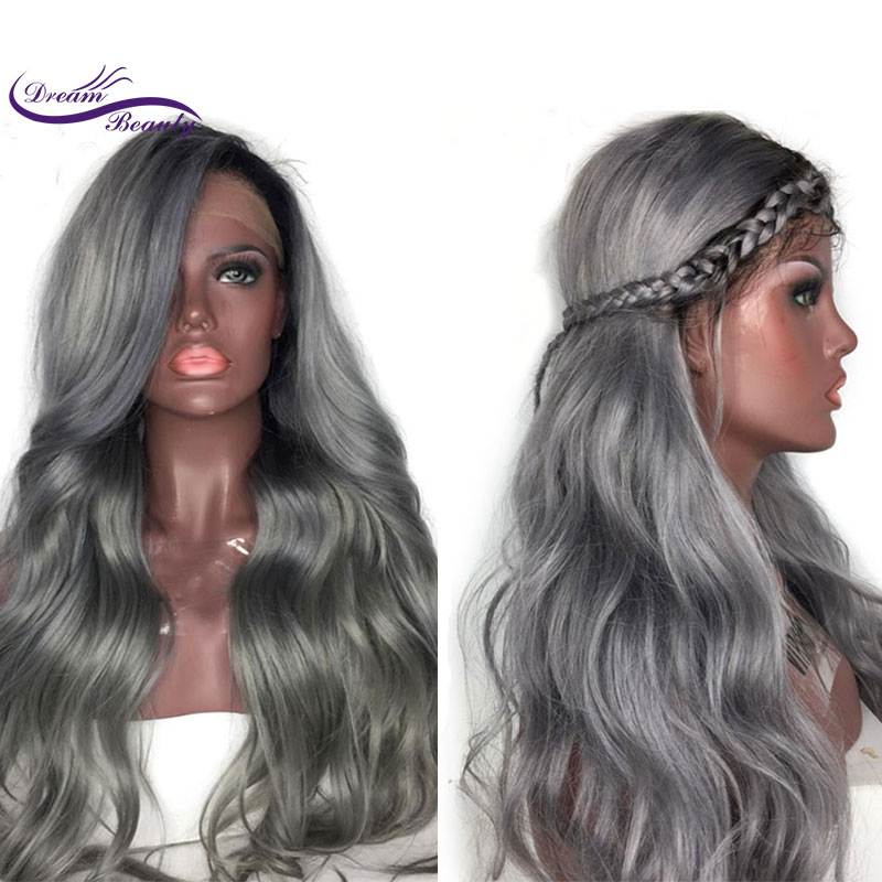 Dream Beauty Ombre Grey 13x3 Lace Front Human Hair Wigs Brazilian Body Wave remy Human Hair