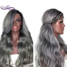 Dream Beauty Ombre Grey 13×3 Lace Front Human Hair Wigs Brazilian Body Wave remy Human Hair Lace Wigs With Baby Hair