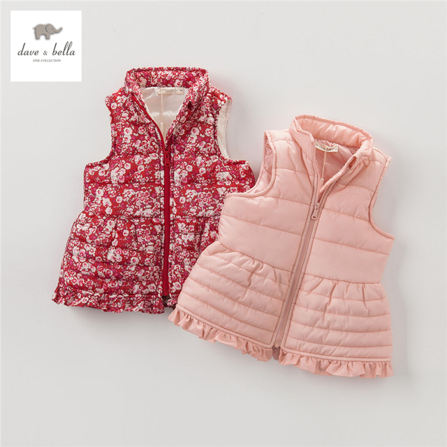 DB3662 dave bella autumn winter baby girls waistcoats baby vest girls printd vest baby padded vest   vest