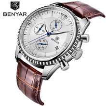 BENYAR Fashion Leather Watch For Men Sport Quartz Clock Waterproof Dat