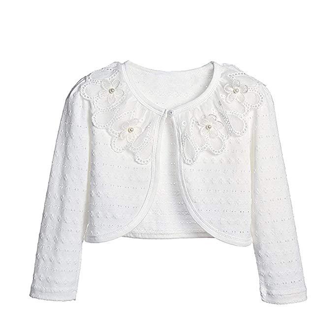 Girls children kids Lace bolero shrug cardigan Pearls button Dress Cover Up Tops
