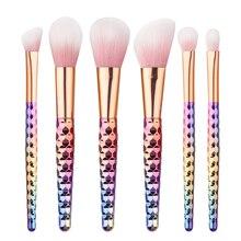 6pcs Soft Pink Head Pro Makeup Brushes Set honeycomb rainbow handle Cosmetic Foundation Eyshadow Blusher Powder Blending Brush