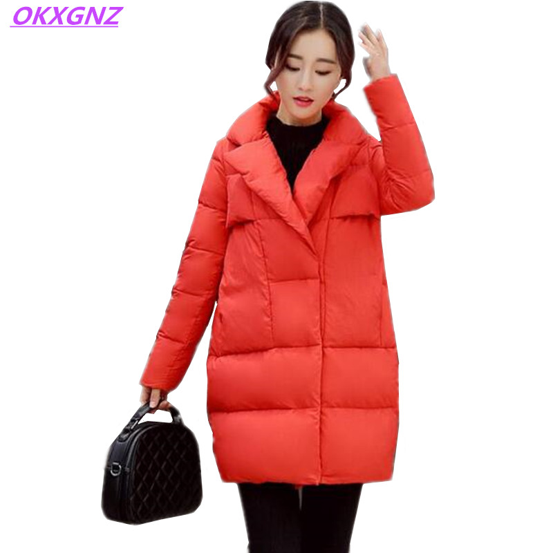 Women's Winter Down Cotton Jackets Medium Length Thick Warm Coats New Fashion Solid Color Casual Outerwear Plus Size OKXGNZ H042 winter women s cotton jackets new fashion hooded warm coats solid color thicker casual tops plus size slim outerwear okxgnz a735