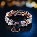 New Brand High Quality Luxury Bracelets For Women Mona Lisa White/Rose Gold Pleated Clear Cubic Zircon Bracelets Bangles