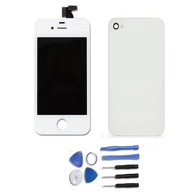 High Quality Touch Screen LCD Display Digitizer Assembly+ Bezel Frame for iPhone 4s + Back Cover Glass+Free Tools, Free Shipping