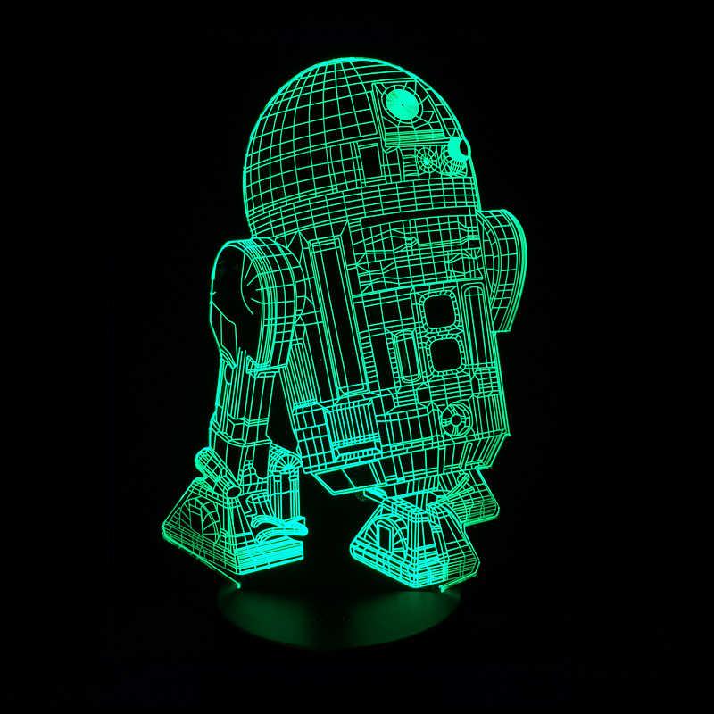 3D Night Light Lâmpada Lumiere LED Optical Illusion com Cabo USB, 7 Cores Mudam, smart Touch & Base De ABS, Darth Vader Guerra Estrela
