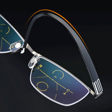 Reven Jate Semi rim Eyewear Smart zoom Progressive Multifocal Anti-blue Ray Reading  Presbyopia Hyperopia