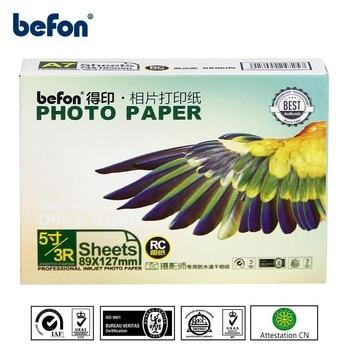 Befon 3R 5 pulgadas de inyección de tinta de papel fotográfico de alto brillo de imagen de impresión de papel de 100 hojas de 260gsm impermeable papel fotográfico de 3,5x5 pulgadas