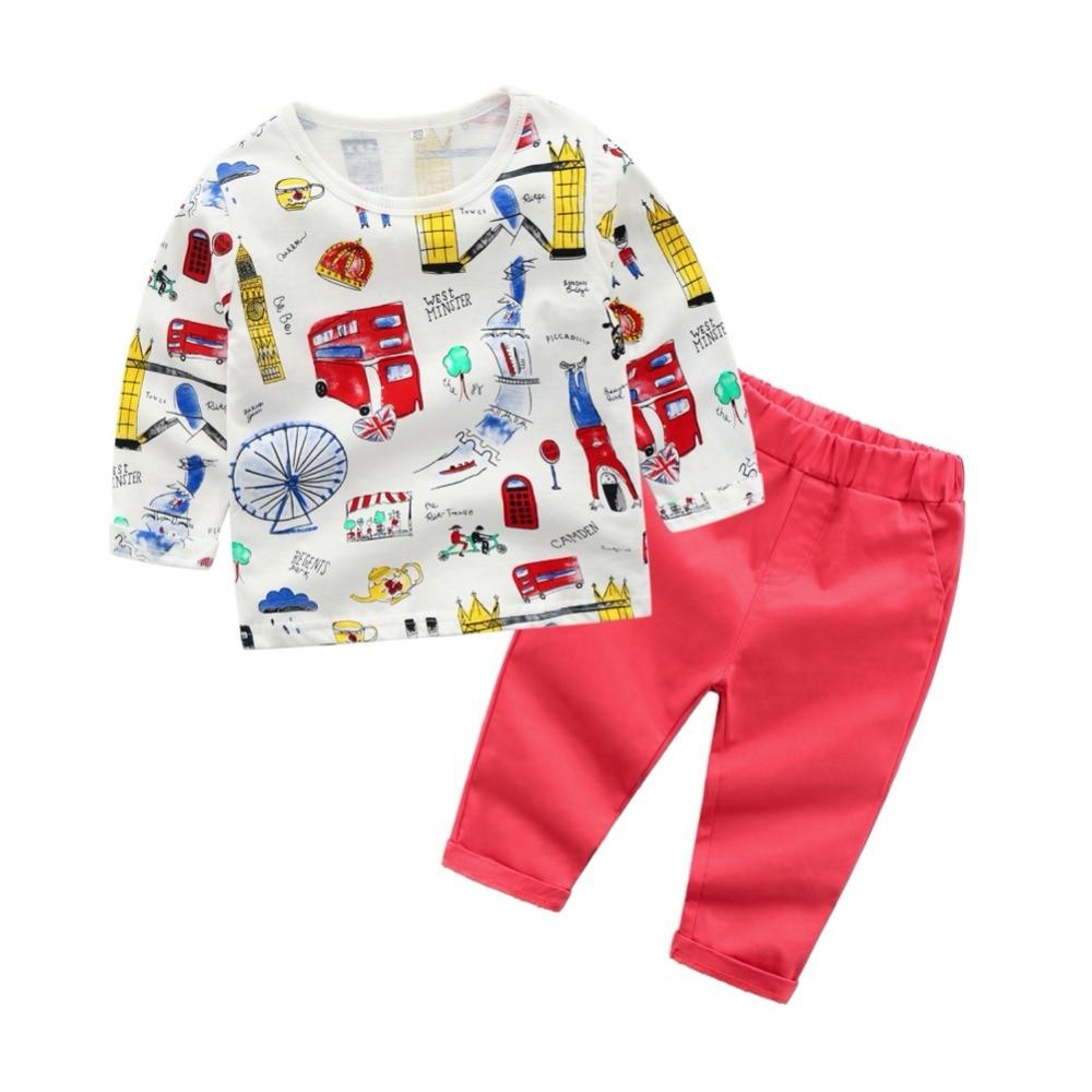 Children Sets Baby Girl Spring Autumn Cartoon Print Long Sleeve Cotton Sweater Elastic Set Toddler boys clothing cartoon print drop shoulder sweater