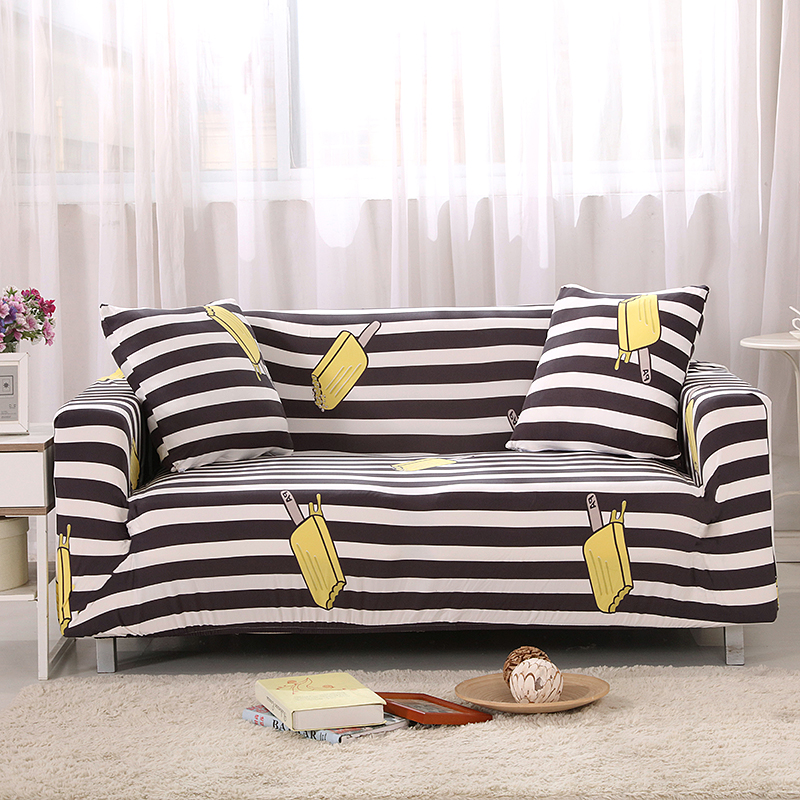 Classic Black and White Stripes Universal Stretch Couch