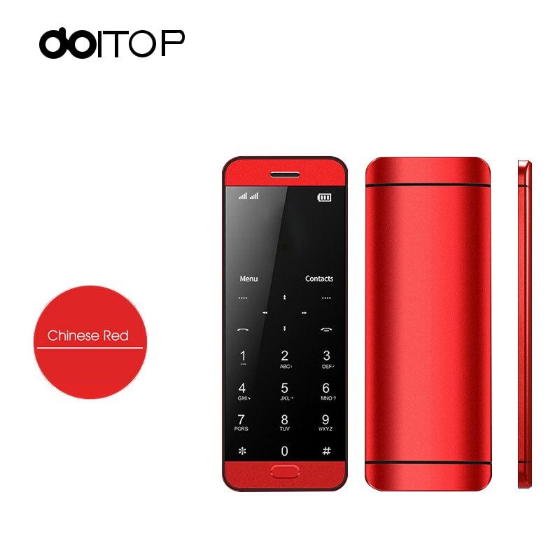 DOITOP V26 ultra-mince carte téléphone intelligent étudiant dame téléphone mobile 1.54 pouces tactile Mini téléphone portable MP3 MP4 musique jouant BT Dialer