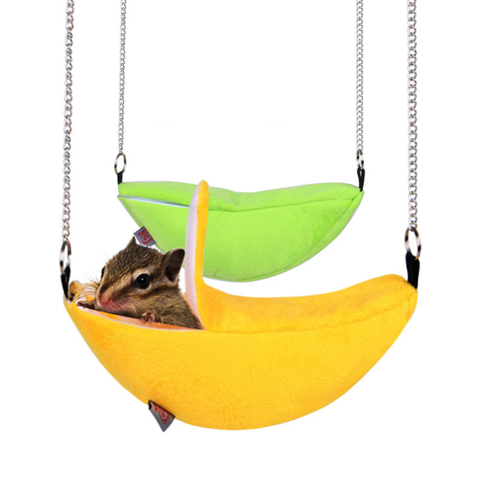 2018 New Hamster Hanging House Hammock Cage Sleeping Nest Pet Bed Rat Hamster Toys Cage Swing Pet Banana design Small Animals(China)