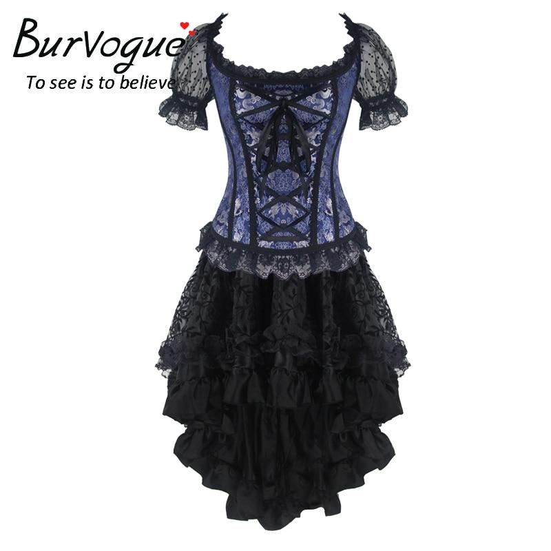 Burvogue Women Lace Gothic Corset Dress Overbust  Slimming Corset Steampunk Corset Dress Set Waist Trainer Corsets Bustier Top