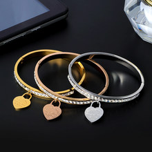 CZ Crystal Bracelets & Bangles Rose Gold Color Heart Open Cuff Bangles Femme Bracelets for Women Lover's Wedding Luxury Jewelry(China)
