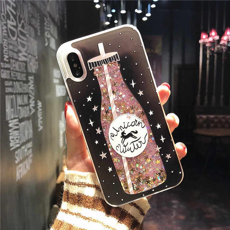 Жидкий чехол для iPhone X 10 8 7 6 6s плюс XS плюс 8 плюс Мультяшные духи напиток бутылка Мороженое Мягкий силиконовый чехол