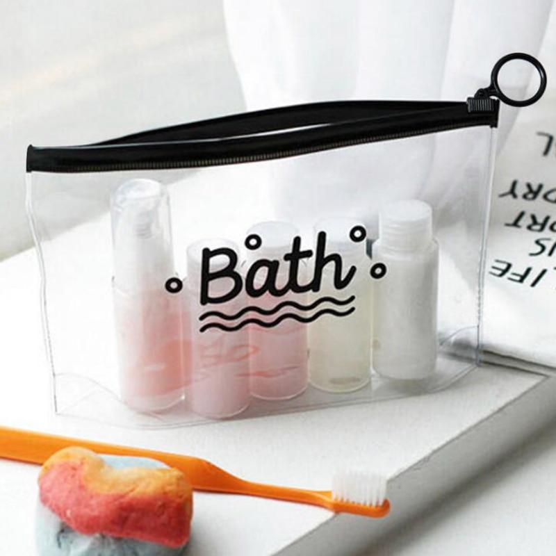 PVC Transparent Bath Cosmetic Bag Women Travel Makeup Bag Zipper Make Up Organizer Storage Pouch Toiletry Beauty Wash  Case