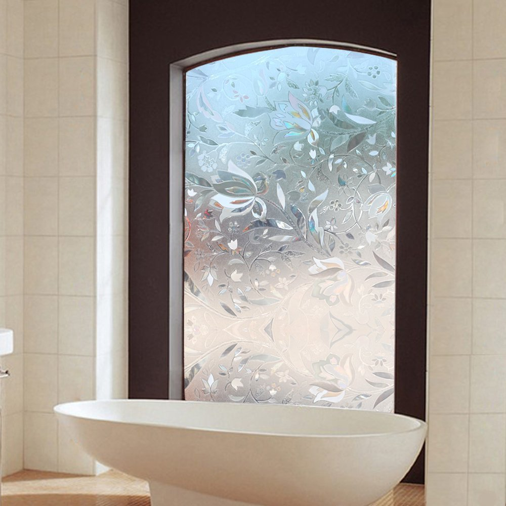 Frosted glass window bathroom - 100 45cm Long Self Adhesive Film Window Film Frosted Glass Sliding Door Bathroom Window