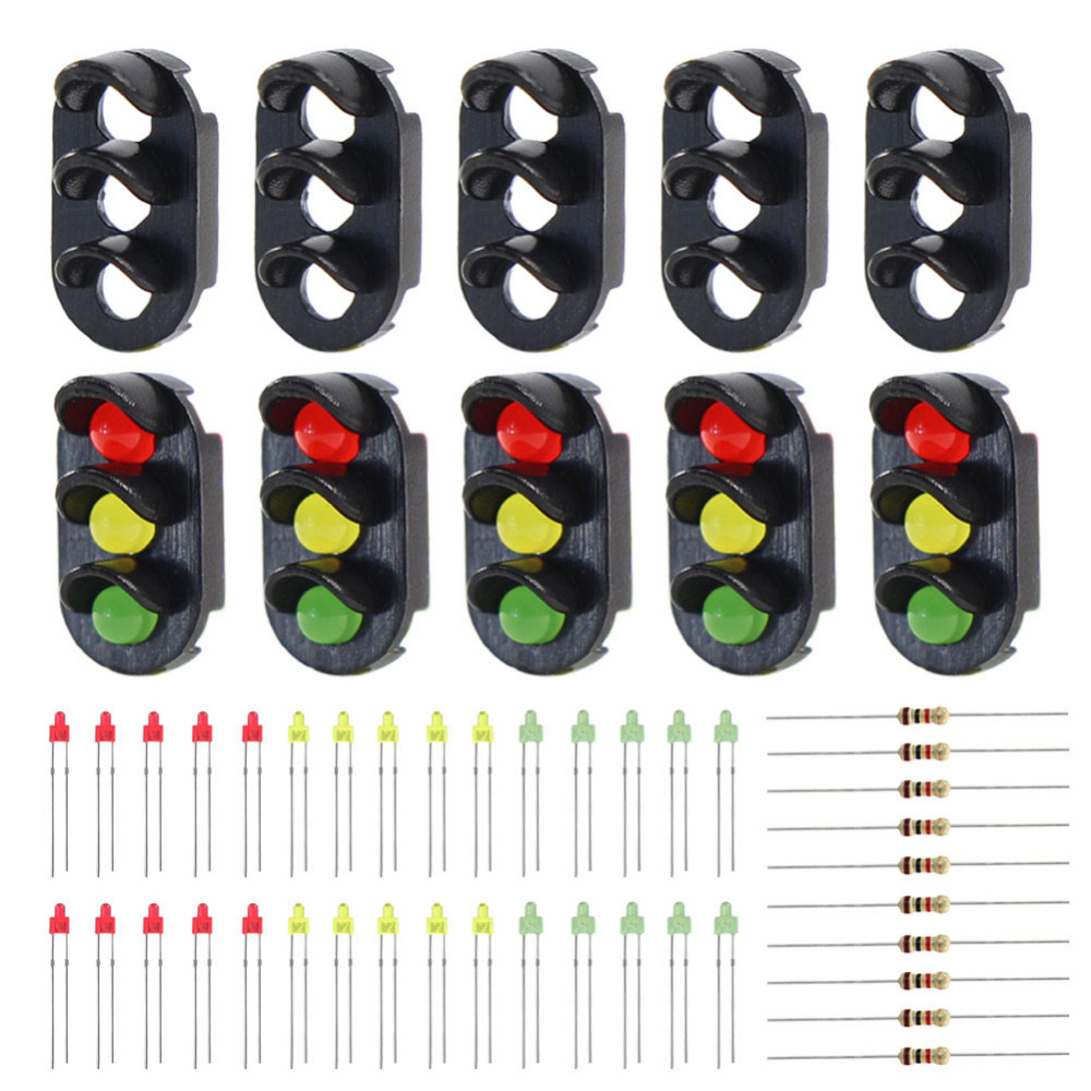 JTD13 10 sets Target Faces With LEDs for Railway Signal N or Z Scale 3-light Block Signal Traffic Lights Red/Yellow/Green