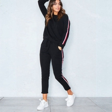 Fashion Sexy tracksuit for women suit  motion casual sports stripe two piece set Womens