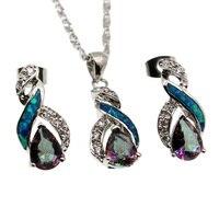 Fire Australian Opal Jewelry Set 925 Sterling Silver Earrings Pendant Necklace Set Modern 8 Design Beauty Women Gift