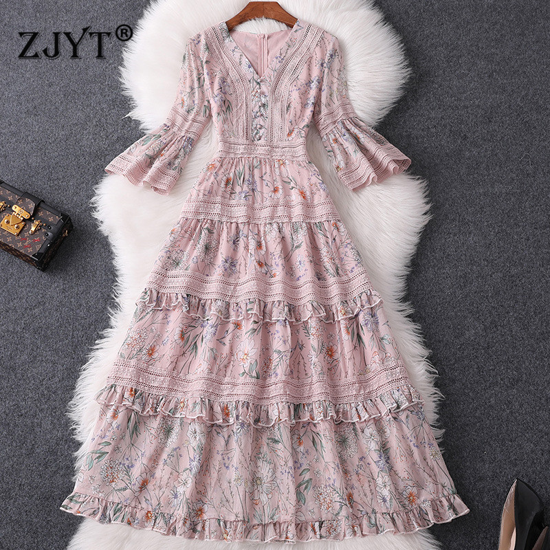 Fashion Women Designer Summer Dress Women 2019 New Elegant V Neck Flare Sleeves Print Hollow Out