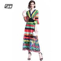 Fitaylor 2018 New Women Summer V Neck Vintage Long Maxi Dress Boho Multicolor Floral Flower Printing