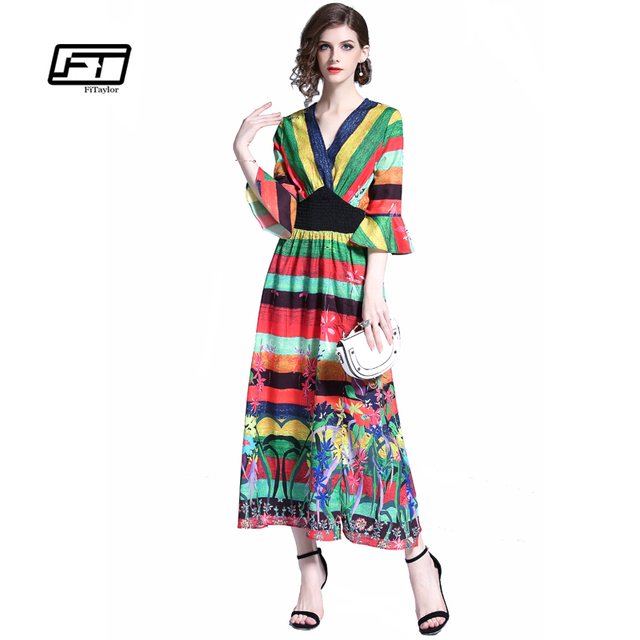 c7303f247e235 Fitaylor 2018 New Women Summer V Neck Vintage Long Maxi Dress Boho  Multicolor Floral Flower Printing Flare Sleeve Dresses-in Dresses from  Women's ...