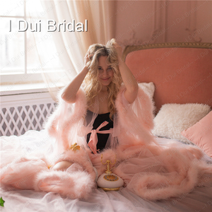 Image 4 - Марабу халат с румянами и розовыми перьями, Свадебный халат из тюля, иллюзия, свадебный подарок, одежда для церемонии, вечерний Халат