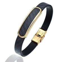 Hiphop Style Leather Bracelet Men Jewelry Fashion Hidden Clasp Wrist Band Bracelet Free Shipping