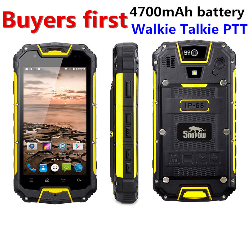 Snopow M5P IP68 Étanche 4g LTE android 5.1 Smartphone Talkie Walkie RAM 2 gb ROM 16GG NFC OTG 13.0MP 4.5 4700 mah mobile Téléphone