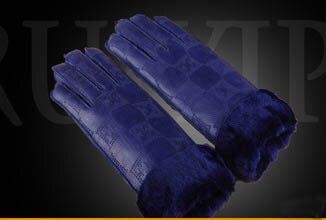 GLV836 Bmen y mujeres de lana de piel de cuero de invierno guantes calientes de