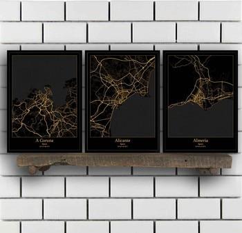 Cartel con mapa de coruña, Almeria, Badajoz, Barcelona, Bilbao, Cordoba, Gijon, Girona,...