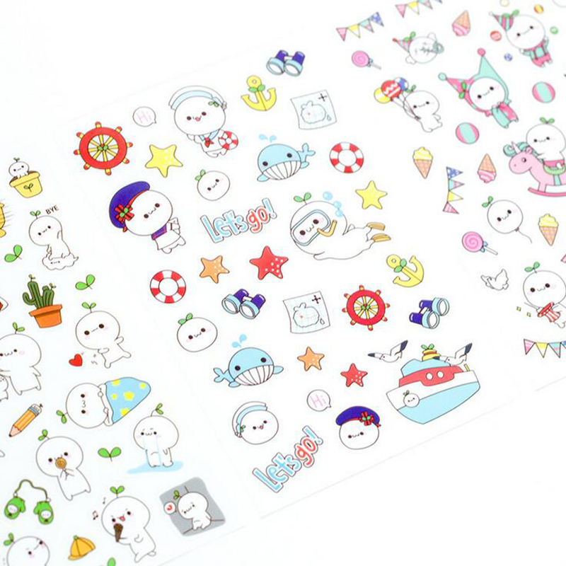 6 Sheets /Pack Kawaii Cartoon Baymax Sticker Adhesive Craft Stick Label Notebook Computer Phone DIY Decor Kids Gift Stationery