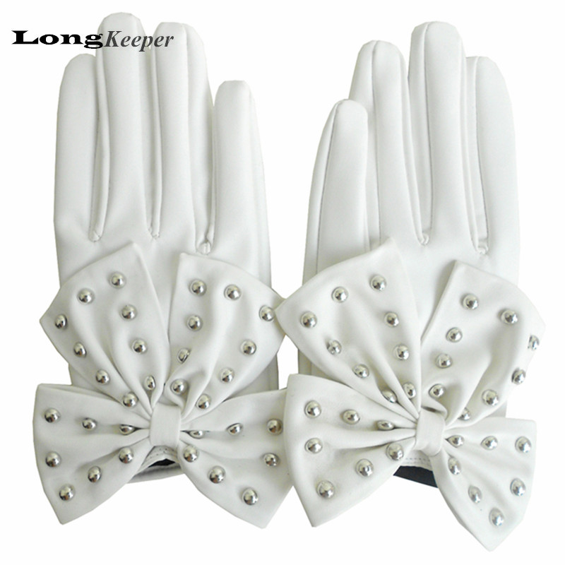 LongKeeper Leather Glvoes Women Winter Big Bow Full Finger Gloves for Dancing Party Retro Vintage Mittens Black White Pink Red