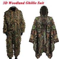 Tactique Sniper Ghillie costumes/cape chasse en plein air Airsoft caché 3D bois Ghillie costumes hommes Camouflage vêtements