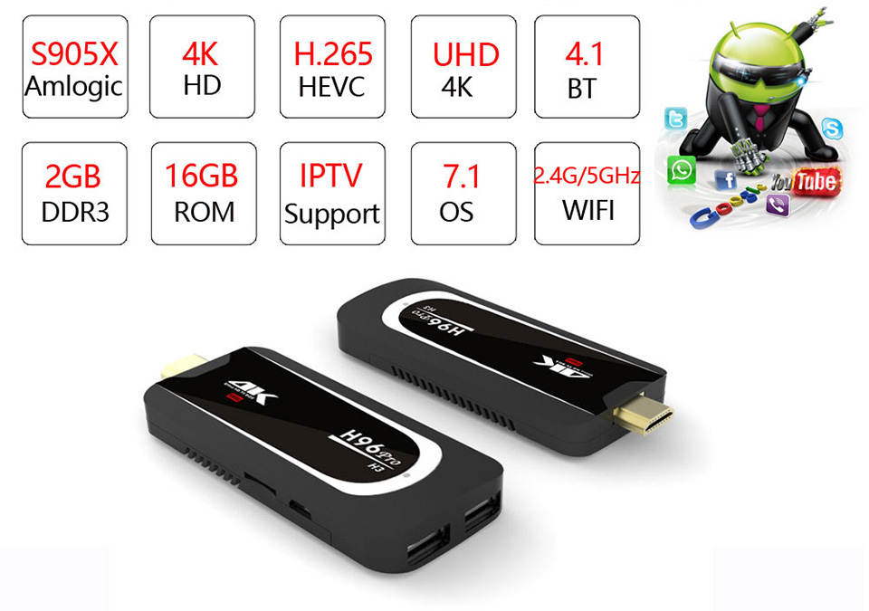 H96 Pro H3 TV Stick Amlogic S905X Penta Core GPU Android 7.1 TV Dongle 2GB RAM 16GB ROM 2.4G/5.G WiFi BT 4.0 1080P 4K HD Mini PC
