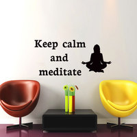 Keep Calm And Meditate Yoga Pose Wall Sticker Women Silhouette Home Decor Vinyl Art Decals