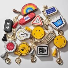 MeanCat Korean Smiling Face Monedero Infantiles Mini Coin Bags Cute Expression Cartoon Bulb, Rainbow, Batterij Shape Zipper Portemonnee