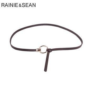 RAINIE SEAN Women Belt Thin Self Tie Leather Belt Women Red Yellow Khaki Brown Black Pink Fashion Ladies Belts